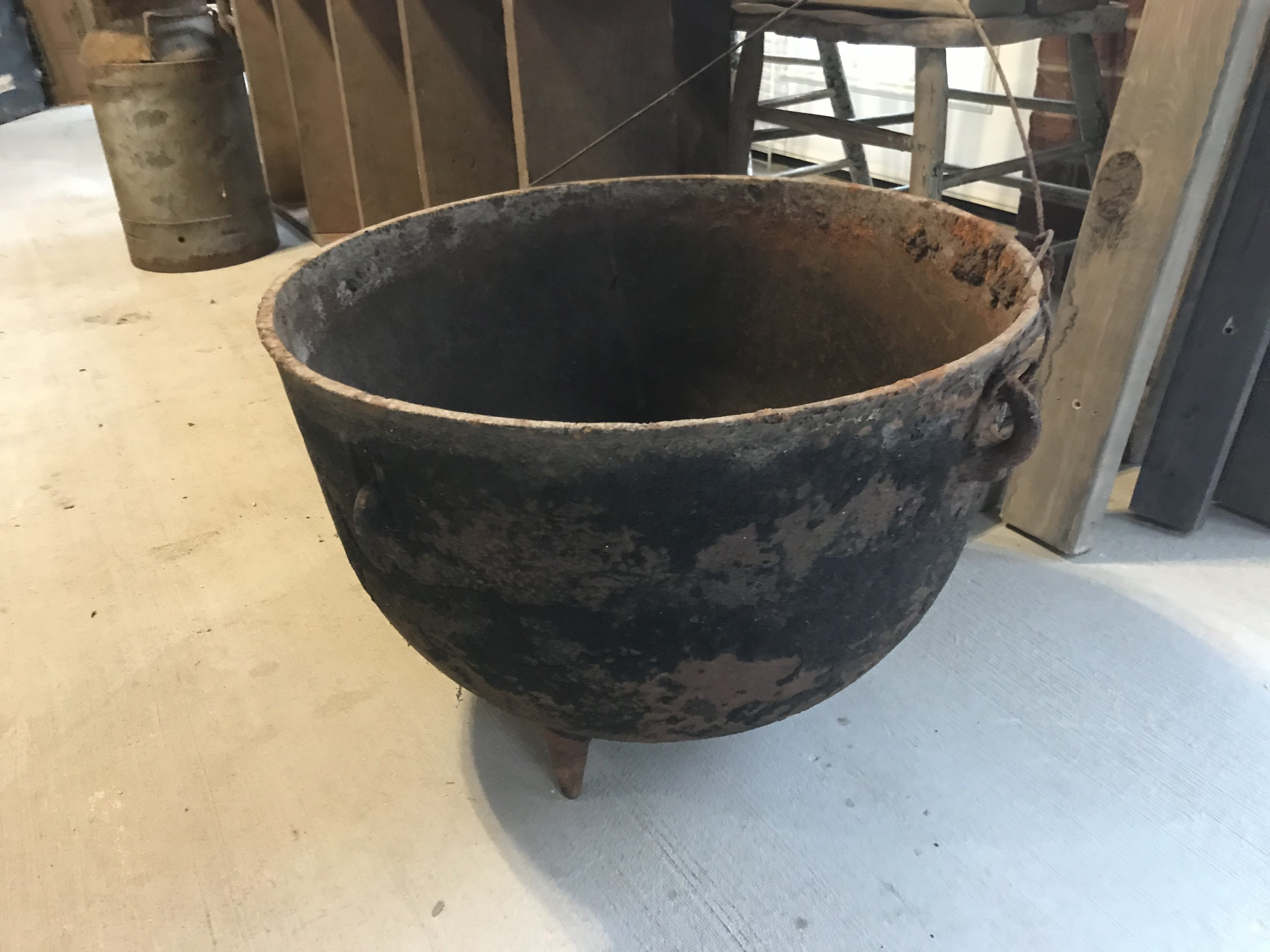 Old Large Black Cast Iron Pot